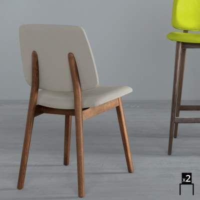 Sedie In Legno Design Moderno.Set 2 Sedie Design Moderno In Legno E Ecopelle Luxy Low