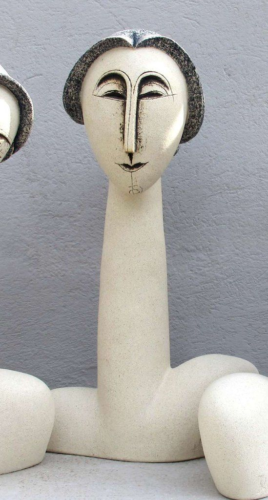 Ceramic Sculpture, Ceramic bust sculpture beautiful woman with pony tail