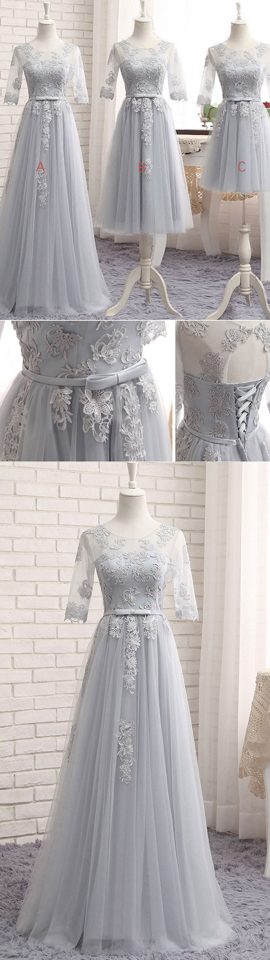 Gray tulle lace long prom dress gray bridesmaid dress grey