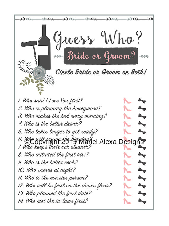 de3130e4f577 Guess Who Bride or Groom - Bridal Shower Game - Instant Download - Fun  Unique Games DIY PDF Wedding