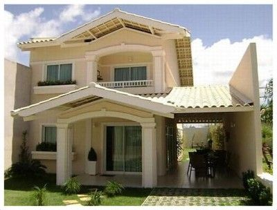 Fachadas de casas de dos pisos con terraza al frente - Modelos de casas de un piso bonitas ...