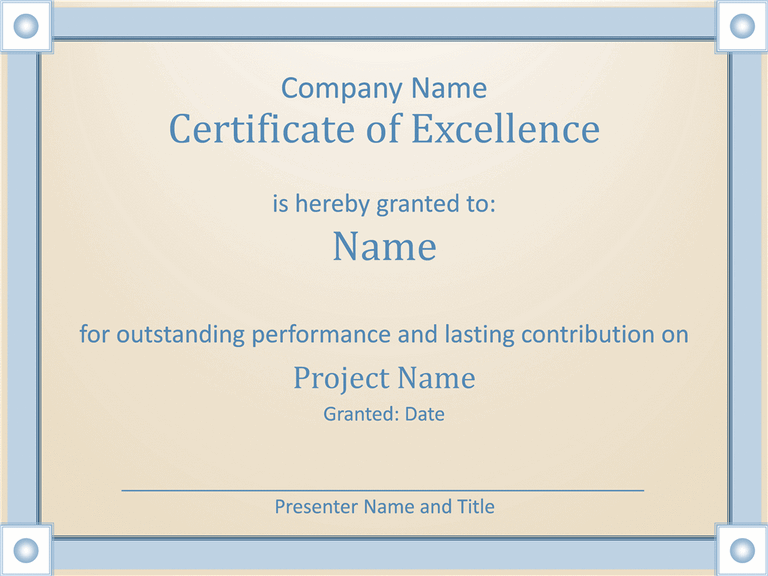 Certificate Employee Excellence Template For Powerpoint Inside