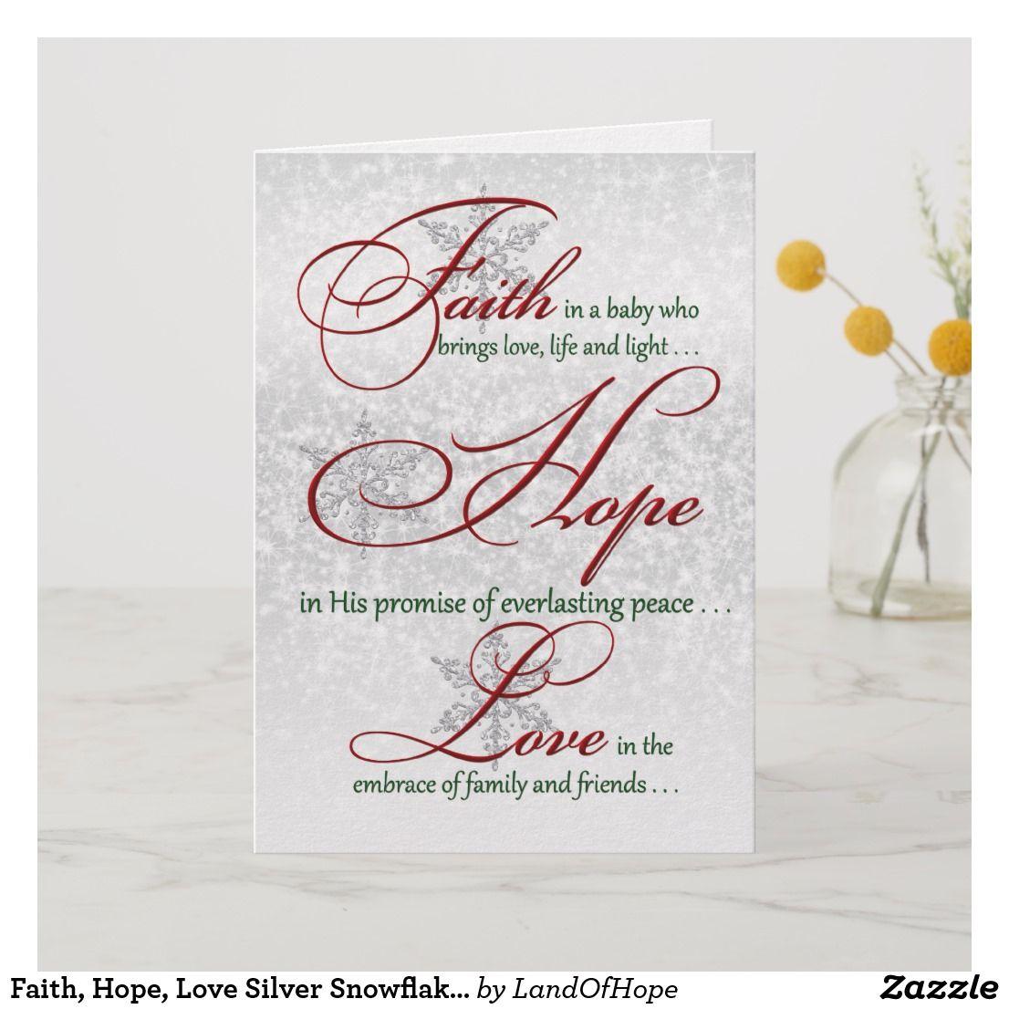 Faith hope love silver snowflakes christmas card