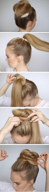 Accessorized high bun quick diy prom hairstyles for medium hair