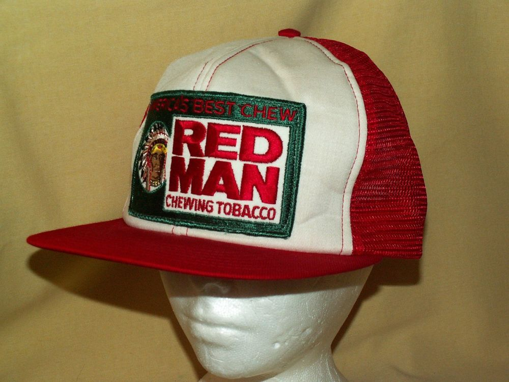 07ca64417c1 RED MAN HAT CHEWING TOBACCO NOS RED WHITE PATCH MESH SNAPBACK ADJUSTABLE  VINTAGE  AdjustATab  BaseballCap