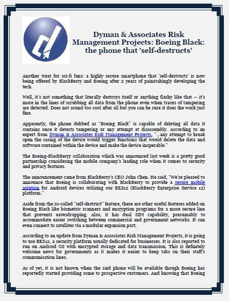 Dyman  Associates Risk Management Projects Boeing Black The