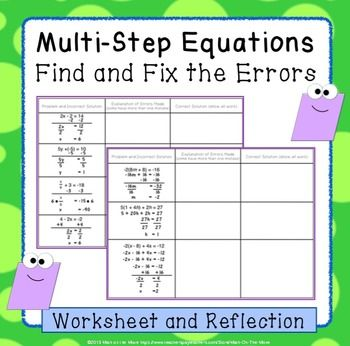 Multi Step Equations Find And Fix The Errors Worksheet Multi Step Equations Equations Teaching Algebra