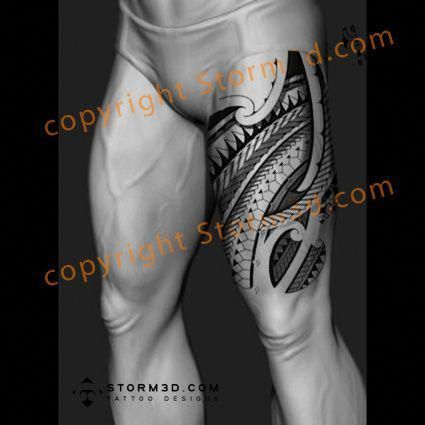 3500959e445c75 upper-tattoo-leg-thigh-design-in-maori-style #Maoritattoos  #Polynesiantattoos