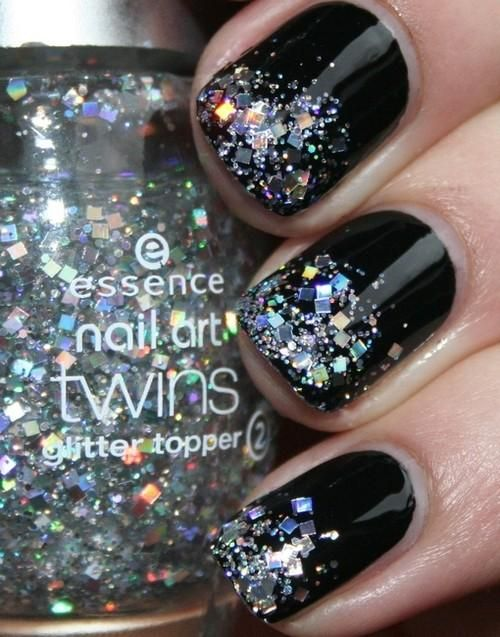Black nails with opalescent glitter on the tips. So pretty! | Nails ...