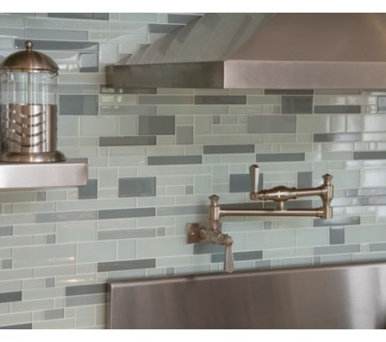 Grey Blue Backsplash | Modern Glass Tile Backsplash For Kitchens | Decozilla