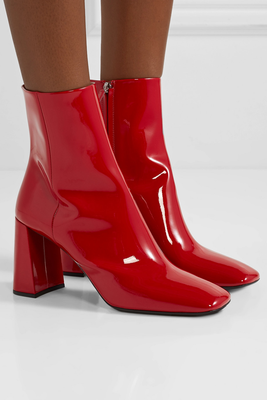 Red 85 patent-leather ankle boots