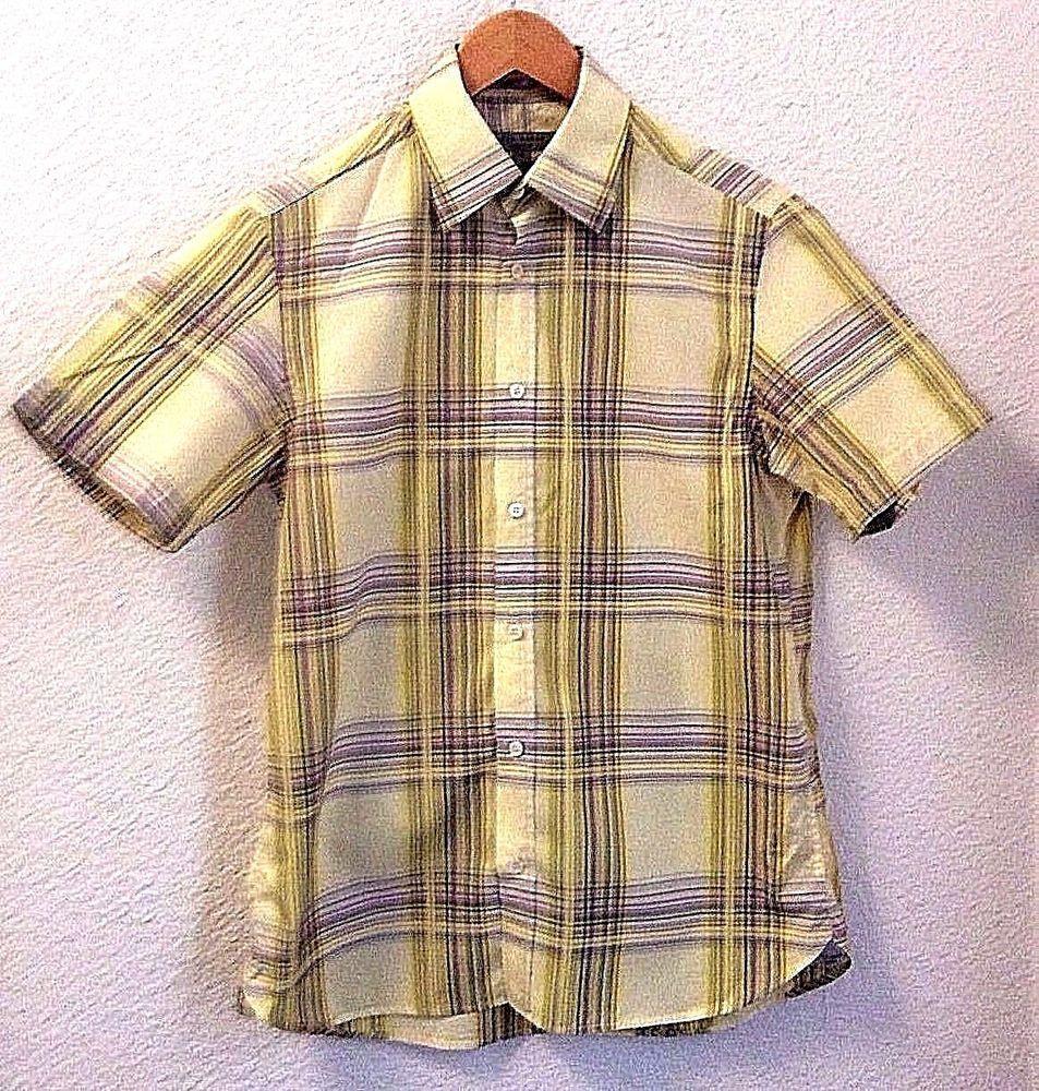 Yellow short sleeve dress shirt medium size