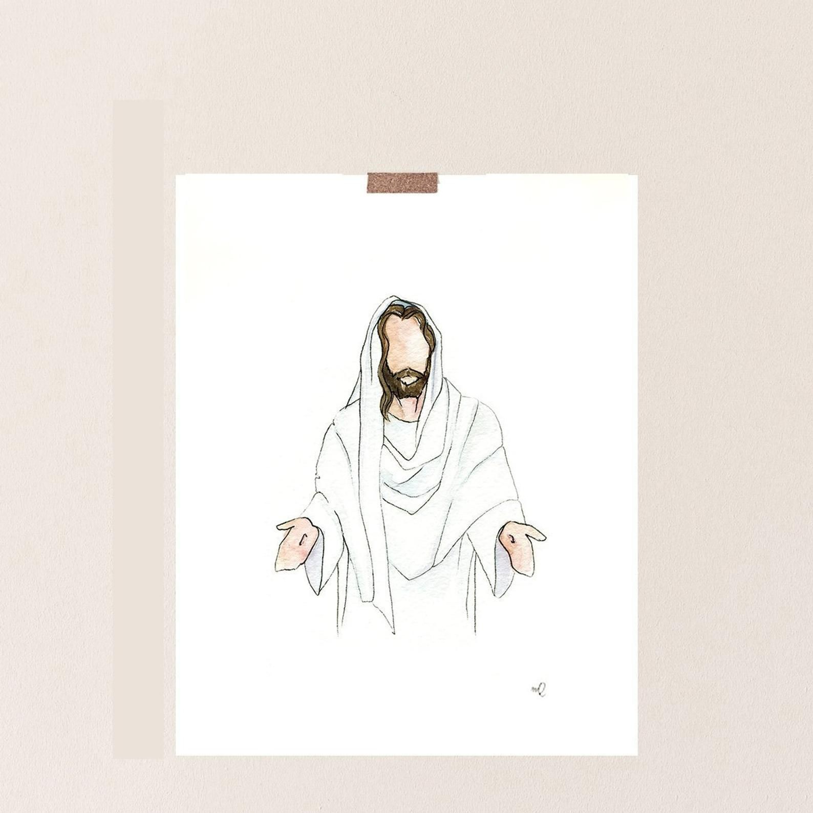 Jesus Painting Christ Jesus In White Jesus Watercolor Etsy In