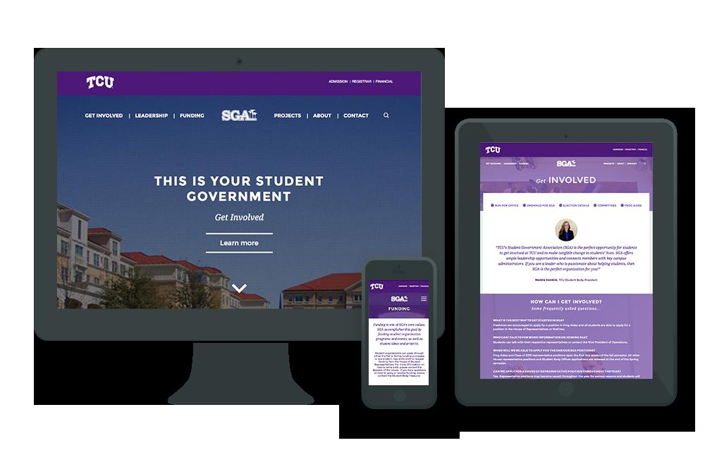 Tcu Sga Ardent Creative Inc Web Design Creative Web Design Digital Marketing