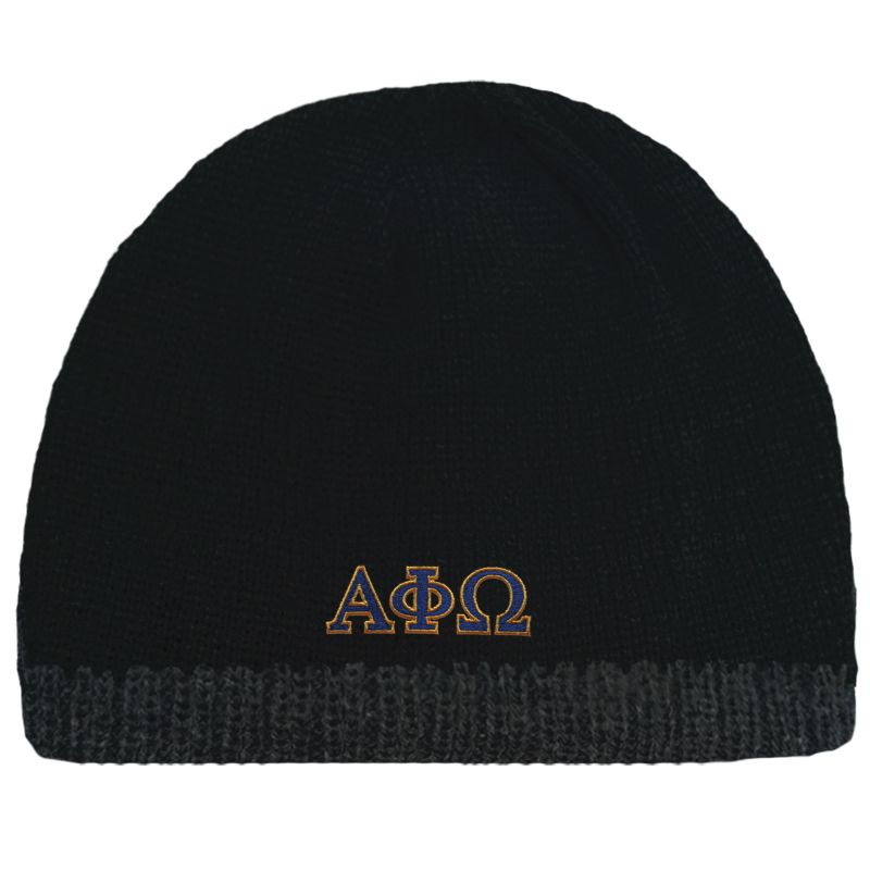 6e39ed2ab6f Campus Classics - On Sale! Alpha Phi Omega Black Knit Beanie with ...