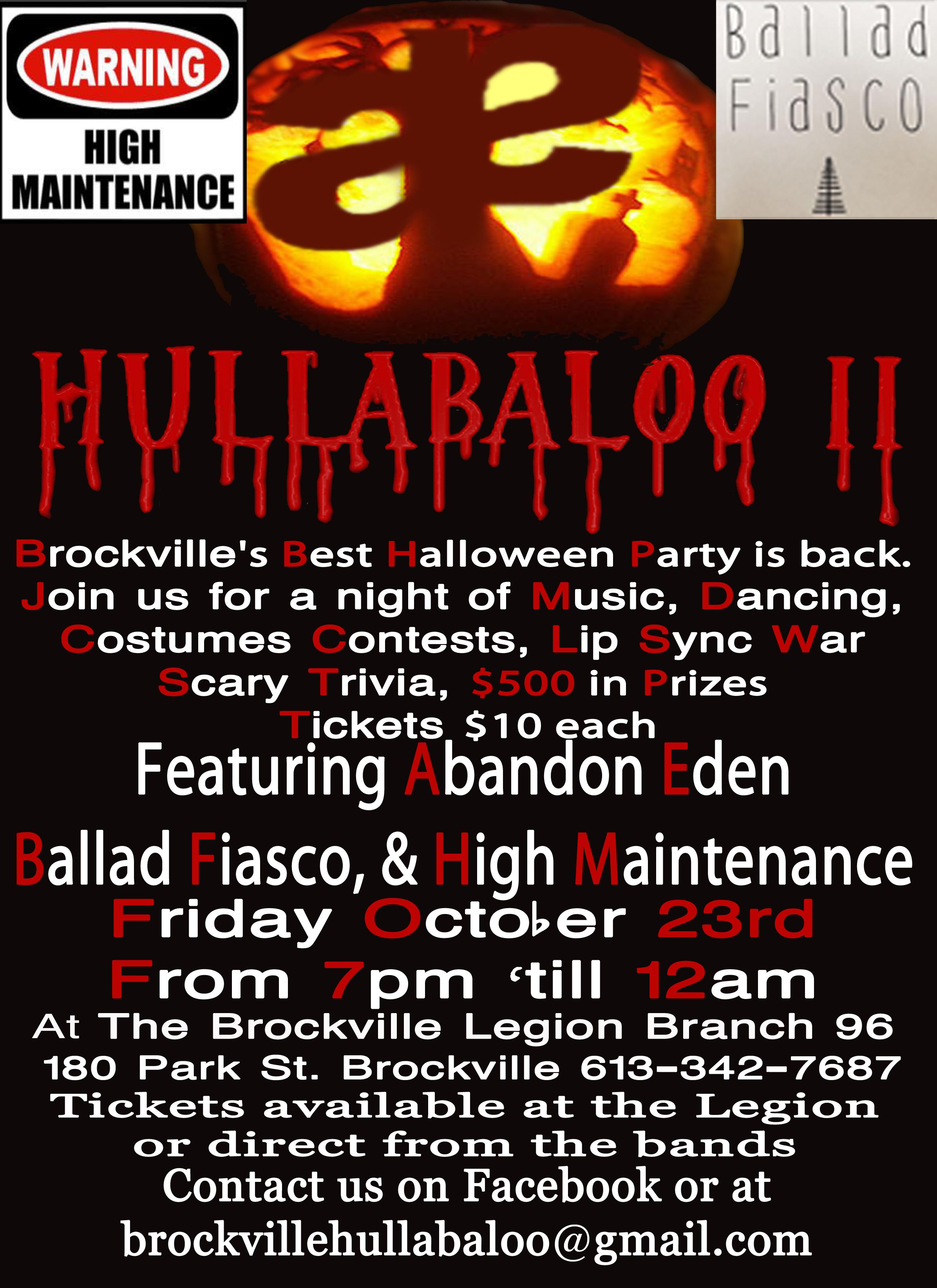 HULLABALOO II Brockville's Best Halloween Party is Back. Join us ...