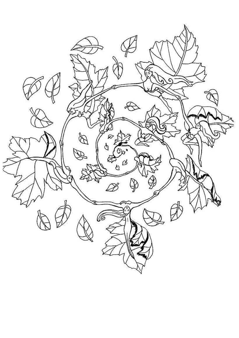 Fall elf mandala   coloring pages   Pinterest   Mandala, Elves and ...