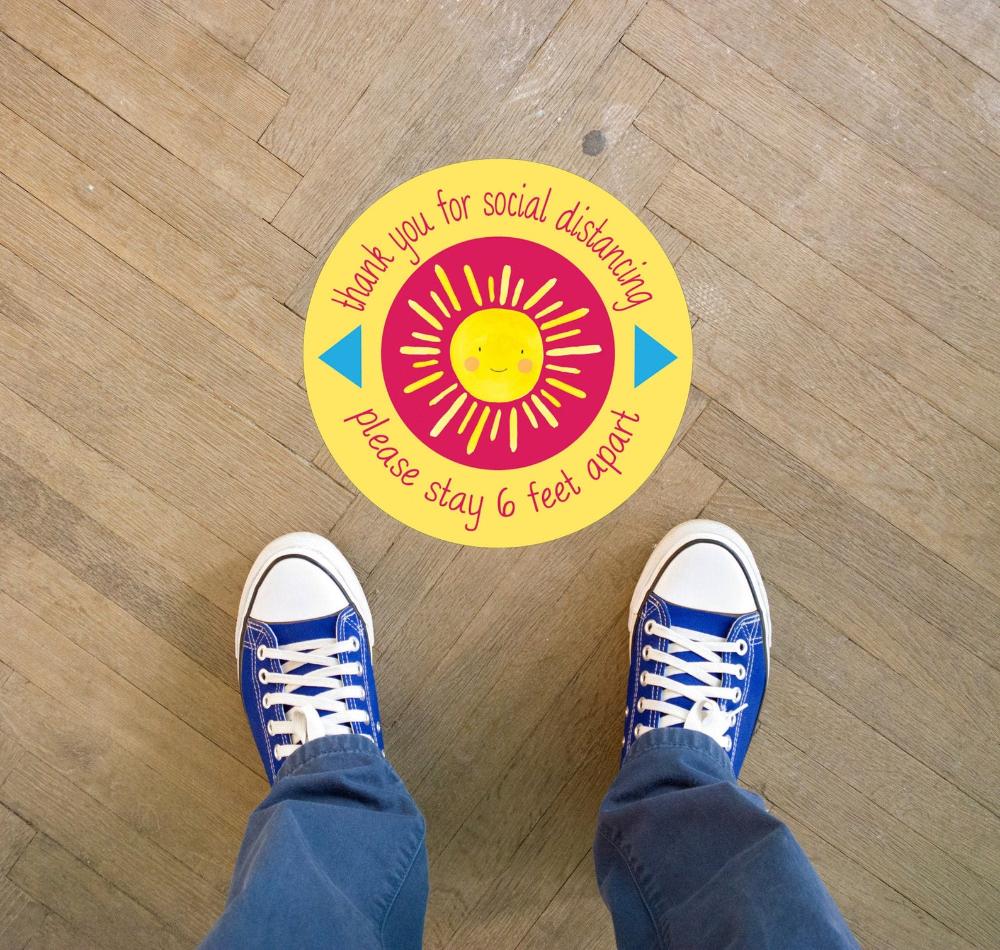 6 Feet Apart Sticker Floor Decal For Daycare Or Schools Kids Office 6 Feet Sticker Set Of 12 Day766 Kids Daycare Floor Decal School Stickers