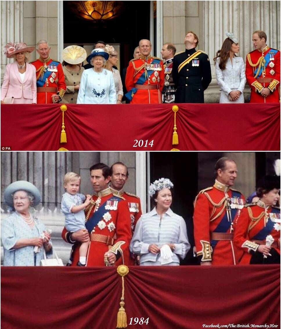 Trooping the Colour in 1984 and 30 years later - 2014. In 1984, who would have ever thought Diana would be gone and Camilla would be on the balcony.