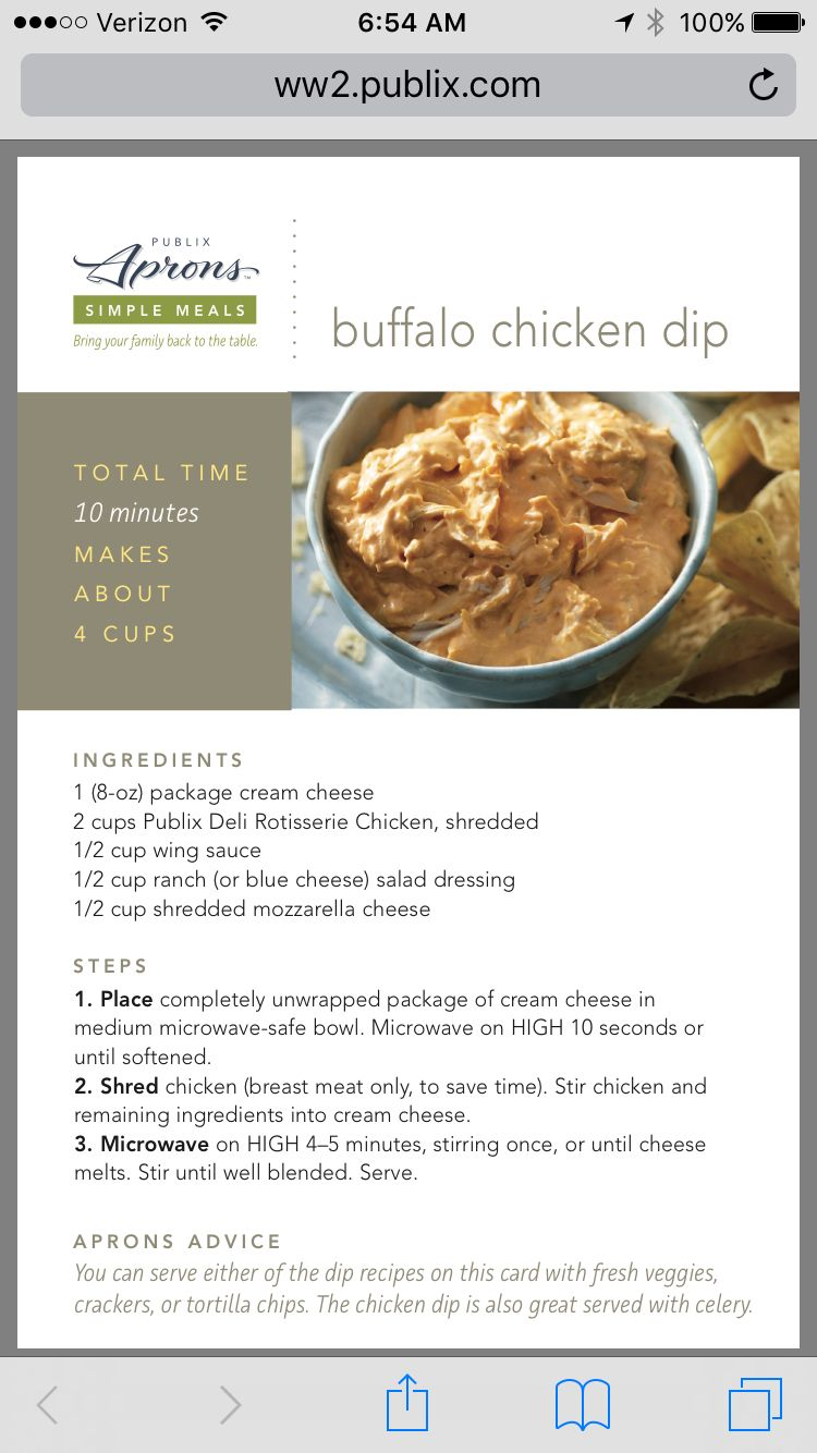 Publix Buffalo Chicken Dip | Everyone loves a good appetizer ...
