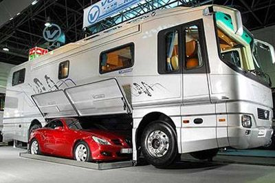 Luxury caravan with Mercedes SLK Luxury bus