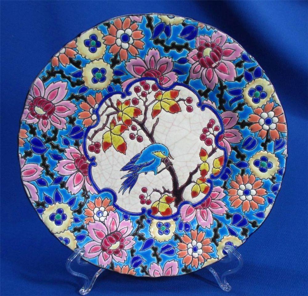 Rare longwy bird on branch antique plate   Longwy Pottery ...