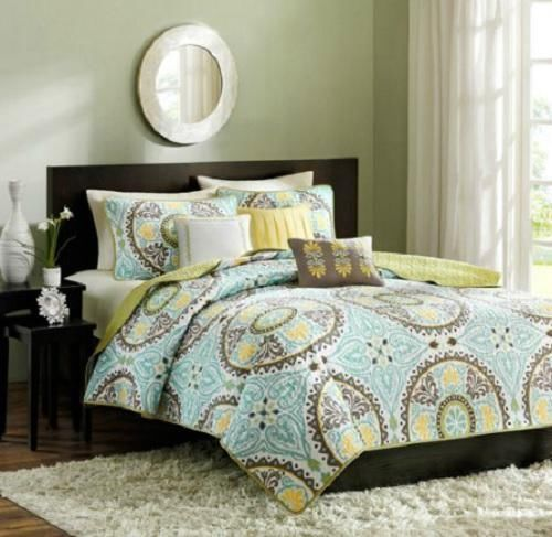 FULL QUEEN Green Teal Brown Yellow GLOBAL MEDALLION Quilt Coverlet Bedding SET