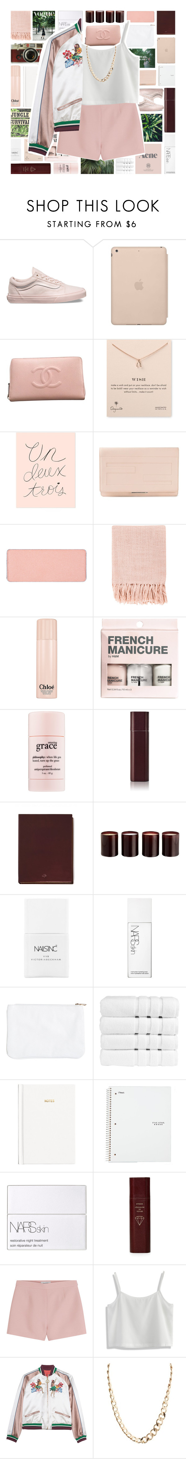 """""""Bomber Jacket"""" by xgracieeee ❤ liked on Polyvore featuring Vans, Black Apple, Chanel, Dogeared, Rifle Paper Co, Fendi, shu uemura, Surya, Prada and Chloé"""