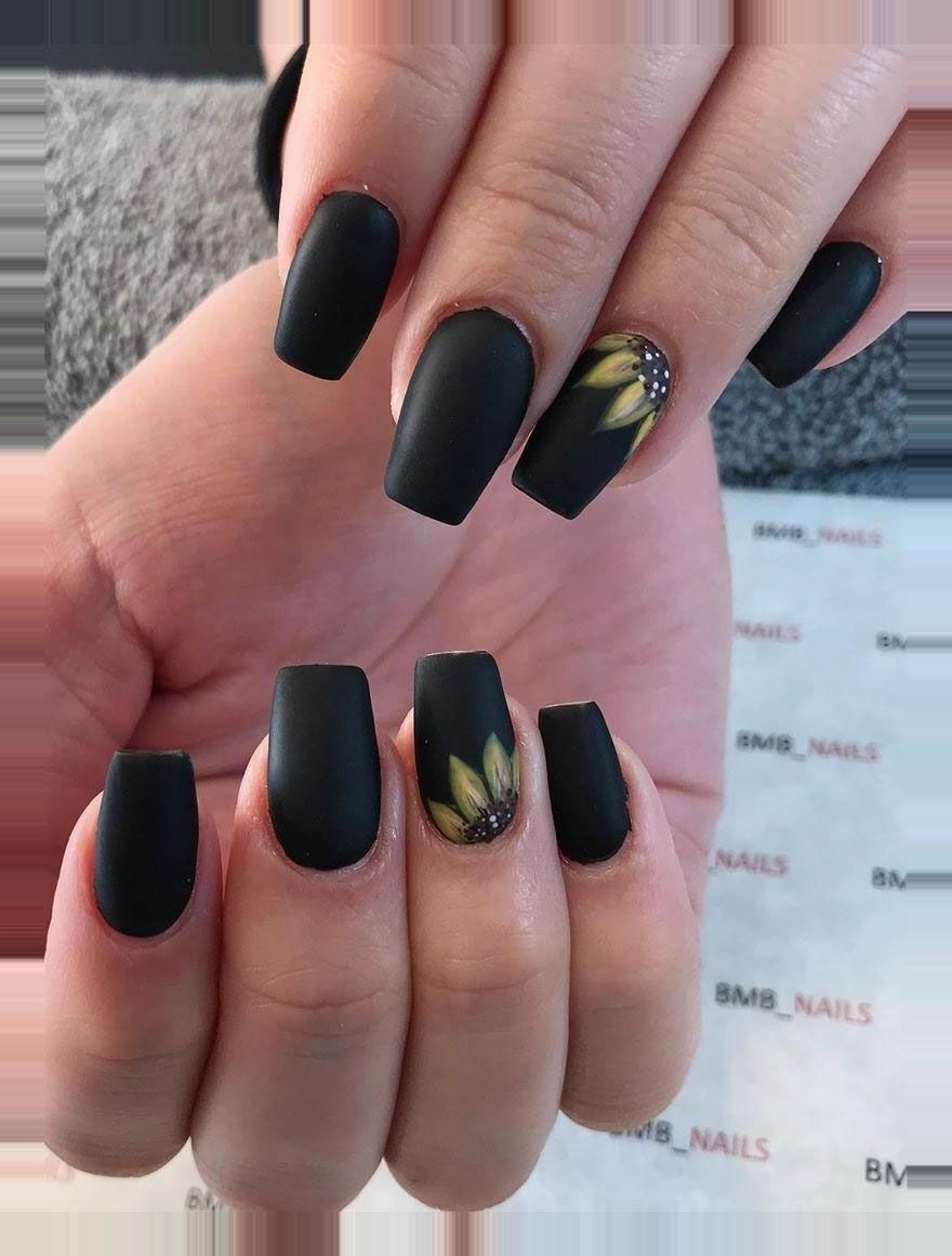 55 Charming Sunflower Nail Art Designs For Spring You Can T Miss Thomas Jones In 2020 Sunflower Nail Art Sunflower Nails Short Acrylic Nails