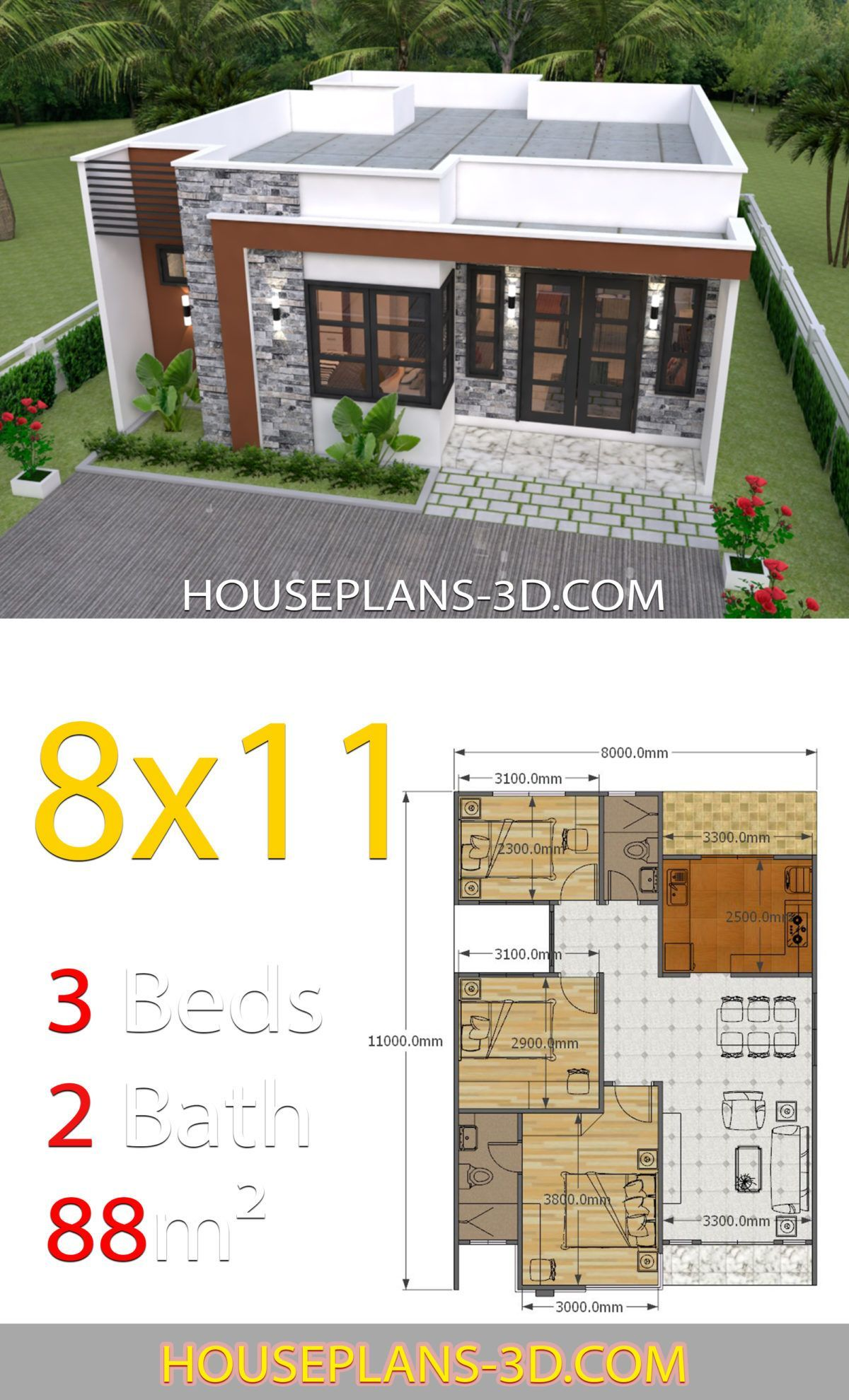 House Design 8x11 With 3 Bedrooms Full Plans Affordable House Plans House Construction Plan House Plan Gallery