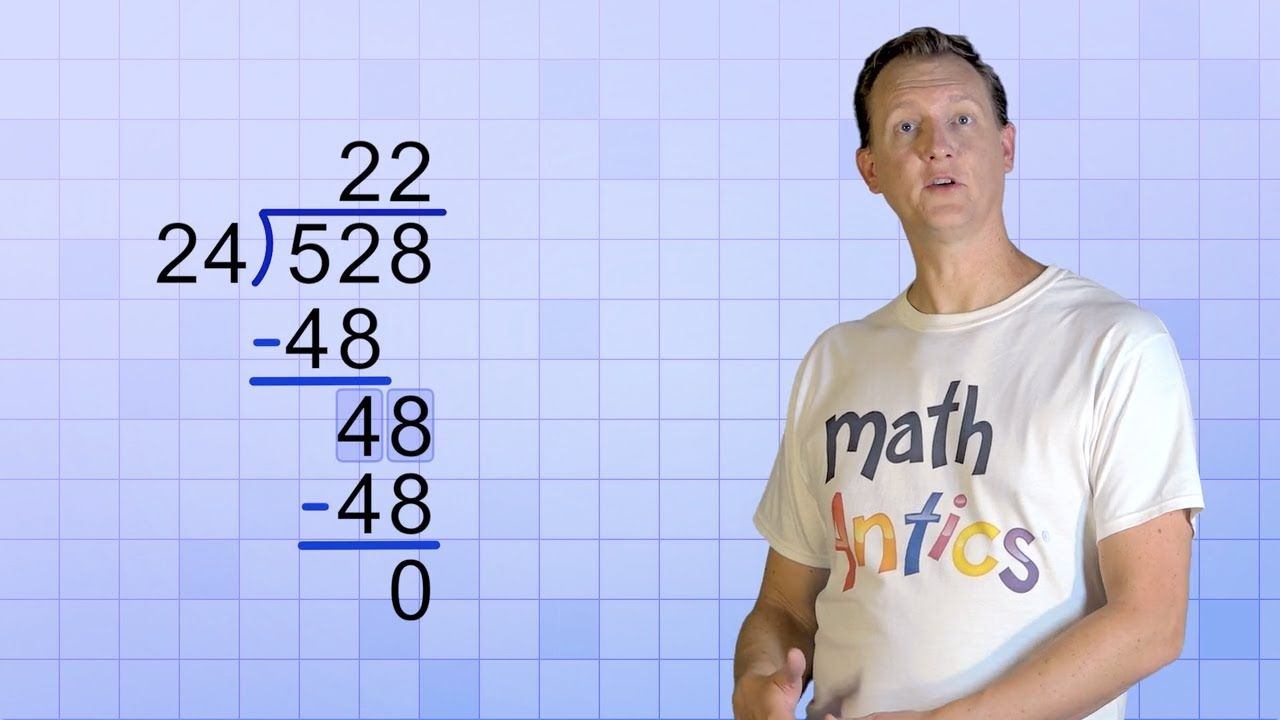 Math Antics Long Division With 2 Digit Divisors Math Division Long Division Math Methods Math antics worksheets answers