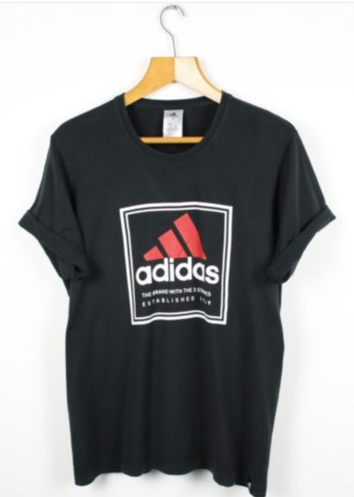 9462a2592e FOR SALE  Vintage ADIDAS Big Logo Black T Shirt Tee