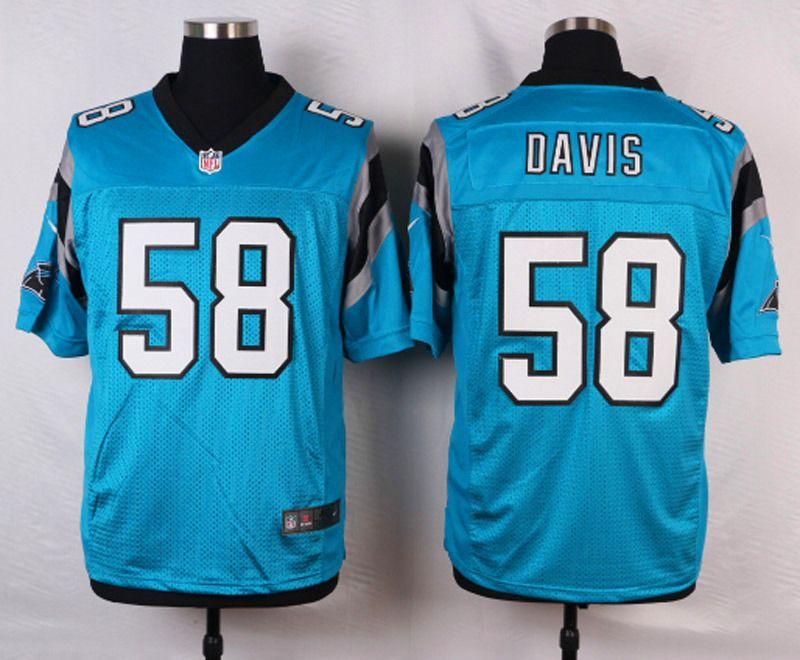 Wholesale Men's Nike Carolina Panthers #58 Thomas Davis Blue Elite Jersey