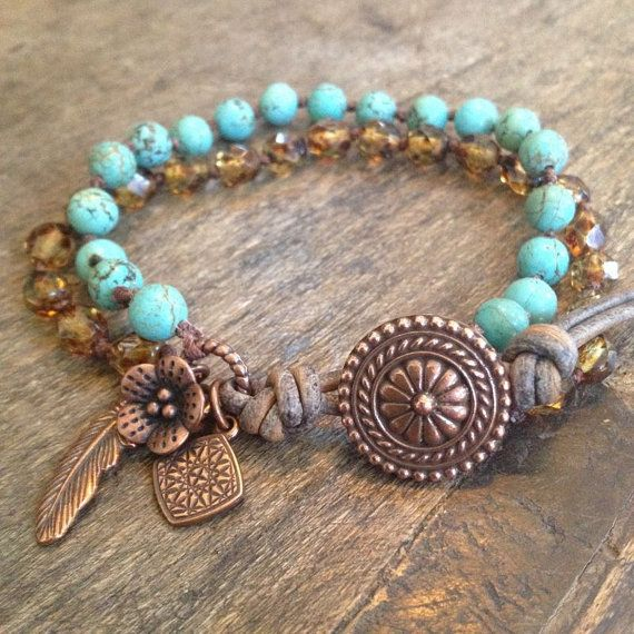 Double Strand Turquoise, Country Chic Hand Knotted Bracelet