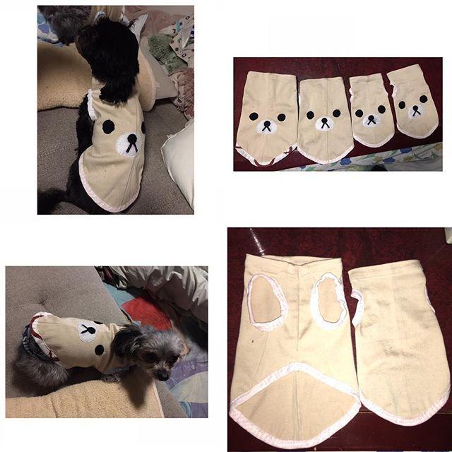 なんちゃって 洋服 また 手縫い してみましたぁ さぁーみなさん 恒例の クイズ です この キャラクター は何でしょーか 笑 愛犬 家族 ペット 犬 4匹 ヨーチー ヨーチワ チワキー シープー チワプー チワワ ヨーキー プードル シーズー ポテト サラダ とまと