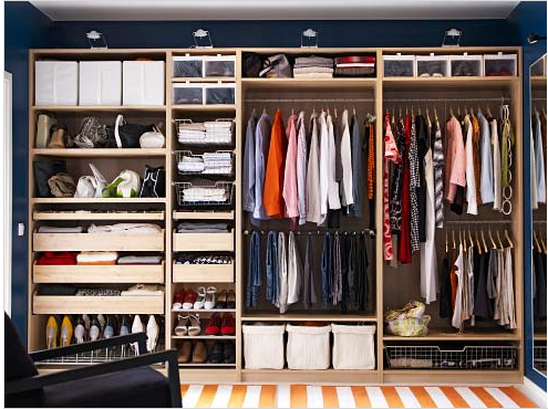 pax wardrobe - ikea door wardrobe) - love the pants hanging up & Idea for an older home with no closet space. Hmm..this would have ...