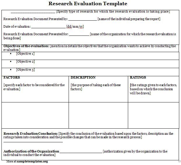 Research Evaluation Form #research #evaluation #form Sample - evaluation template