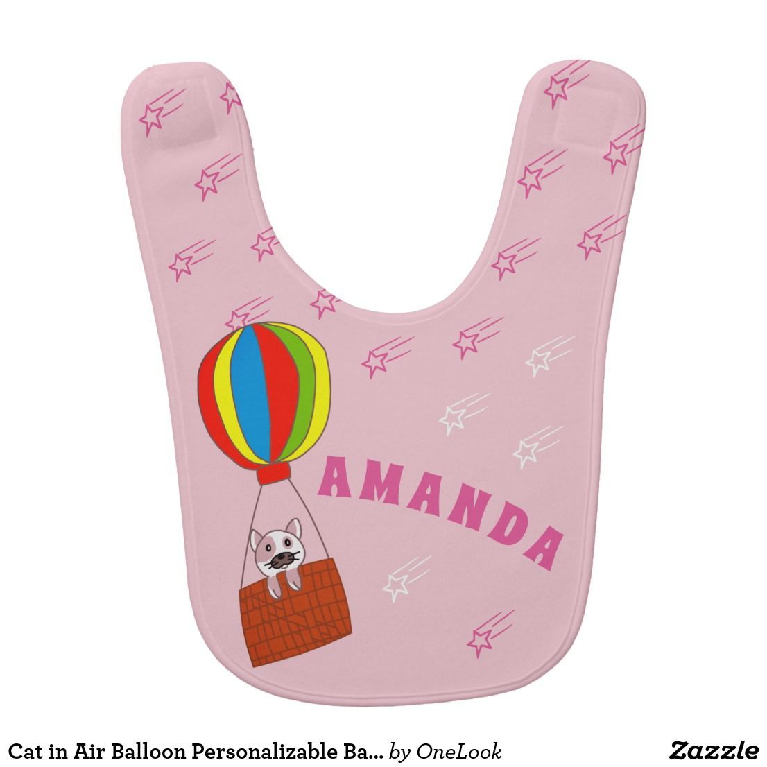 Cat In Air Balloon Personalizable Baby Girl