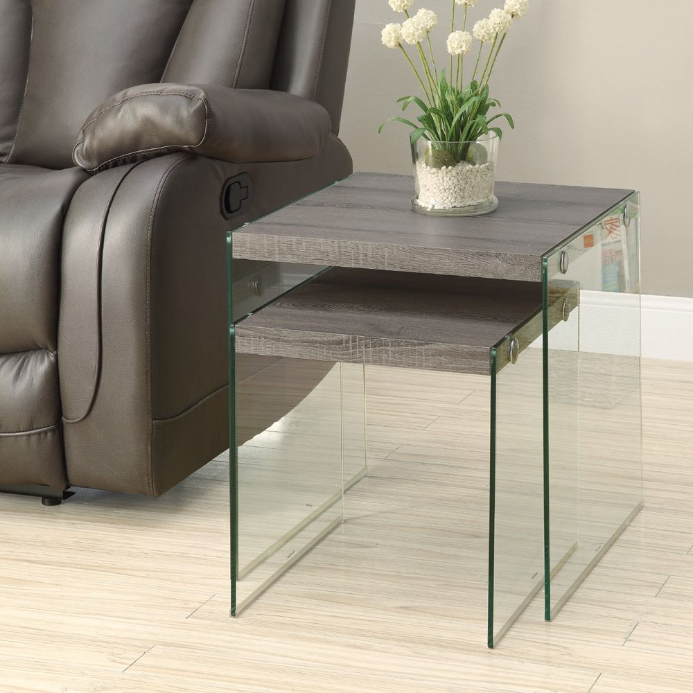 With Its Chic Dark Taupe Reclaimed Wood Look Surface, This 2 Piece Nesting  Table