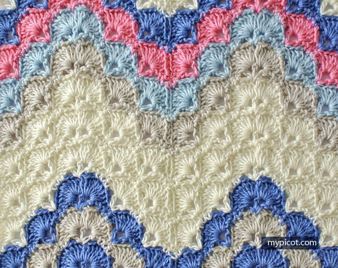 Crochet Ripple - Shell stitch | crochet-MyPicot | Pinterest | Tücher ...