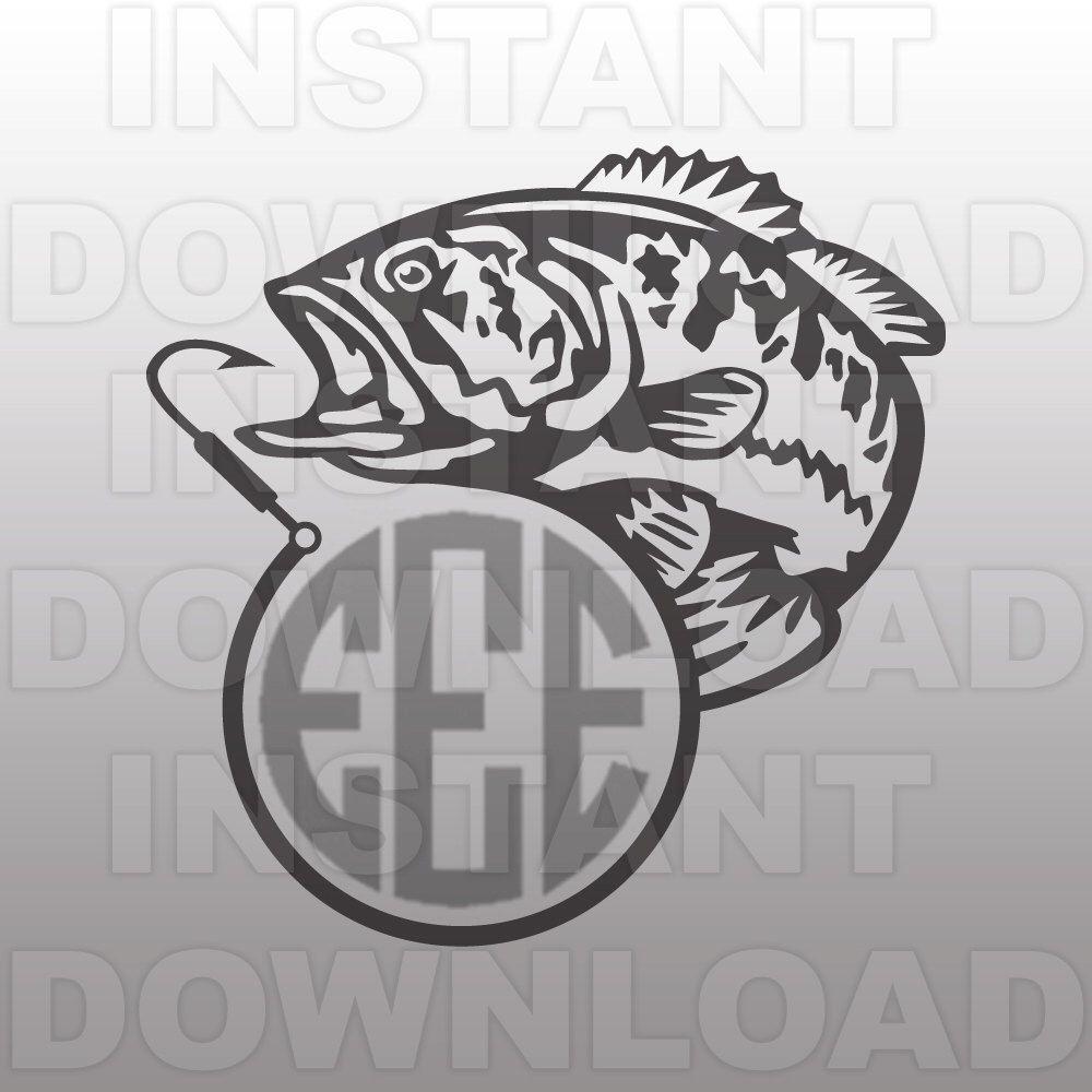 Fishing SVG File,Fish Hook Monogram SVG File,Bass SVG