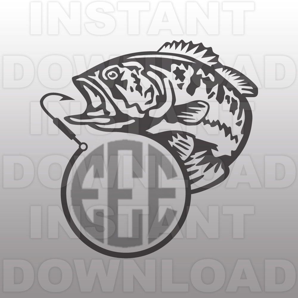 fishing svg file fish hook monogram svg file bass svg cutting