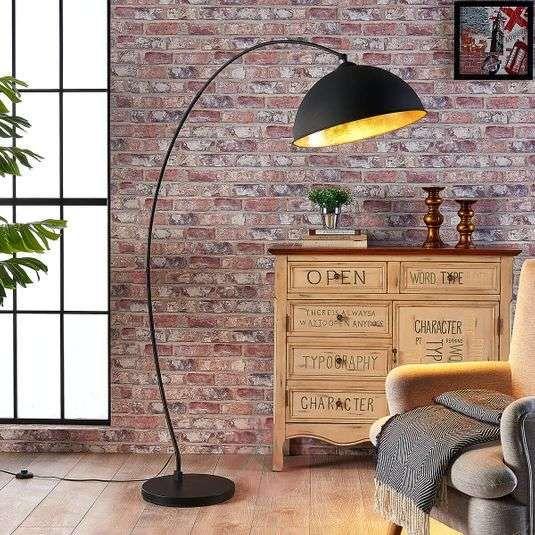Curved Floor Lamp Jonera Black And Gold Lights Co Uk In 2020 Curved Floor Lamp Unique Floor Lamps Floor Lamp