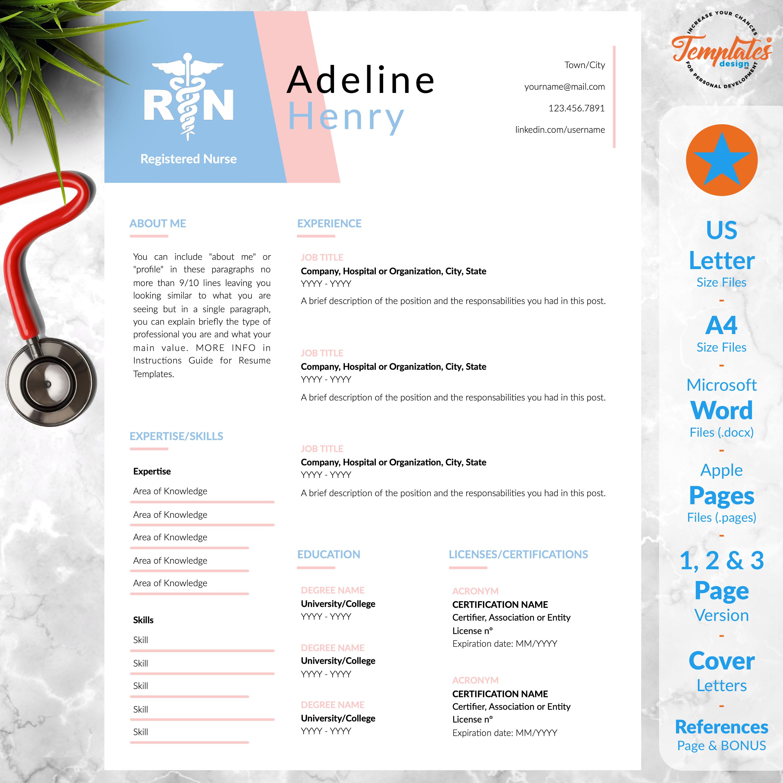 Nursing Resume Template for Word / Registered Nurse CV
