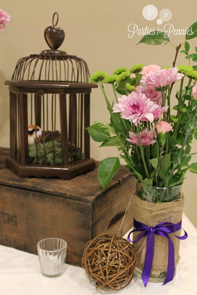 purple themed bridal shower%0A Secret Garden Theme Shower  via Parties for Pennies