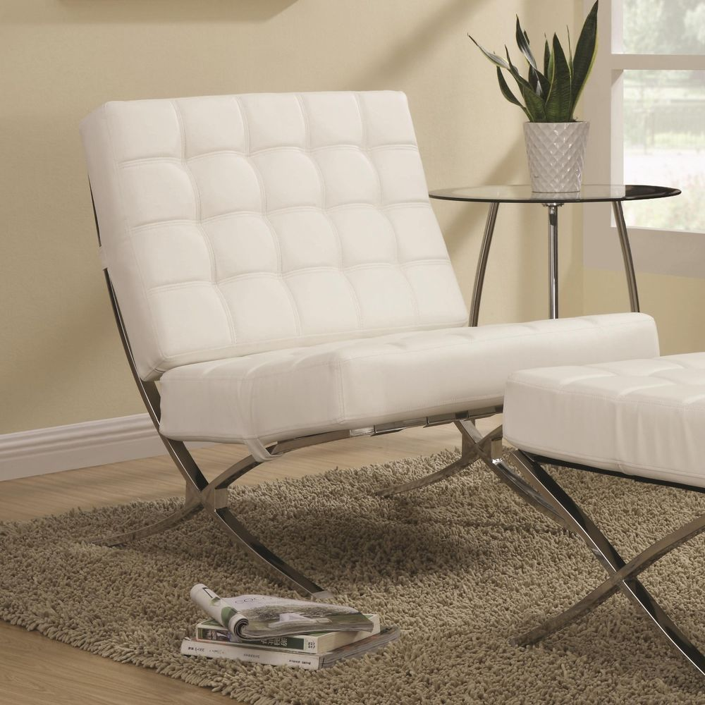 Barcelona Inspired Accent Chair Faux Leather White or Black