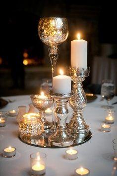 Metallic Pillar Candle Holder In Mirror Base Candle Centerpieces Elegant Candle Centerpieces Candles