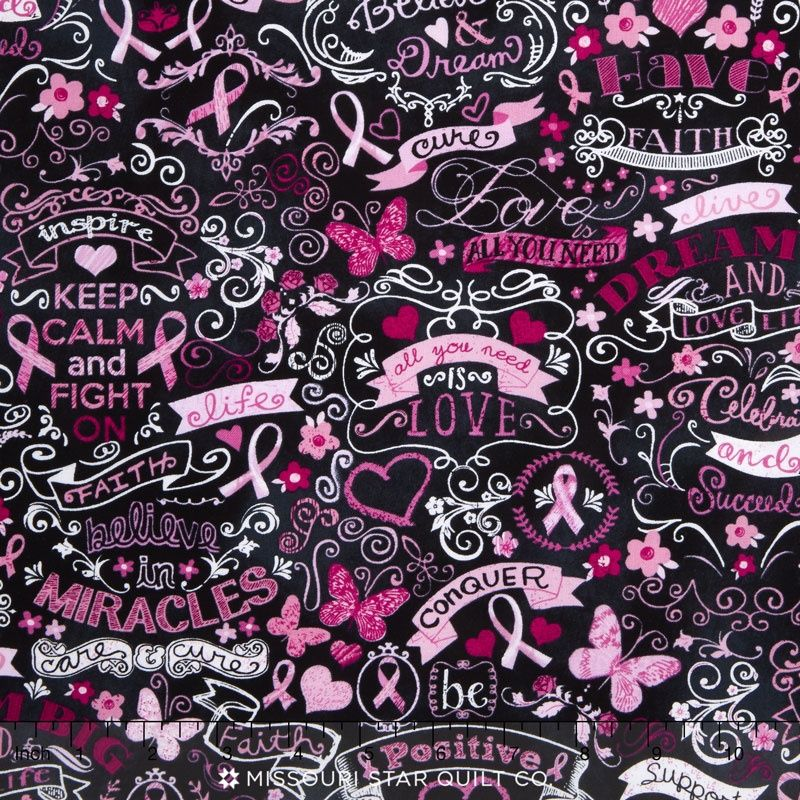 Novelty Pink Ribbon Chalkboard Black Yardage (With