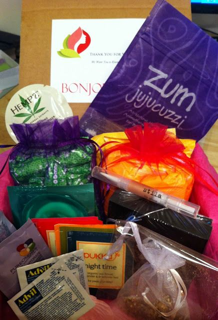 """Bonjour Jolie, a box full of period supplies to get monthly for $16 or to give as a gift. They have pads, tampons, advil, teas and pamper gifts in one box. You can tailor it to your liking! They also have a """"first time period box"""" for preteens! How cute."""