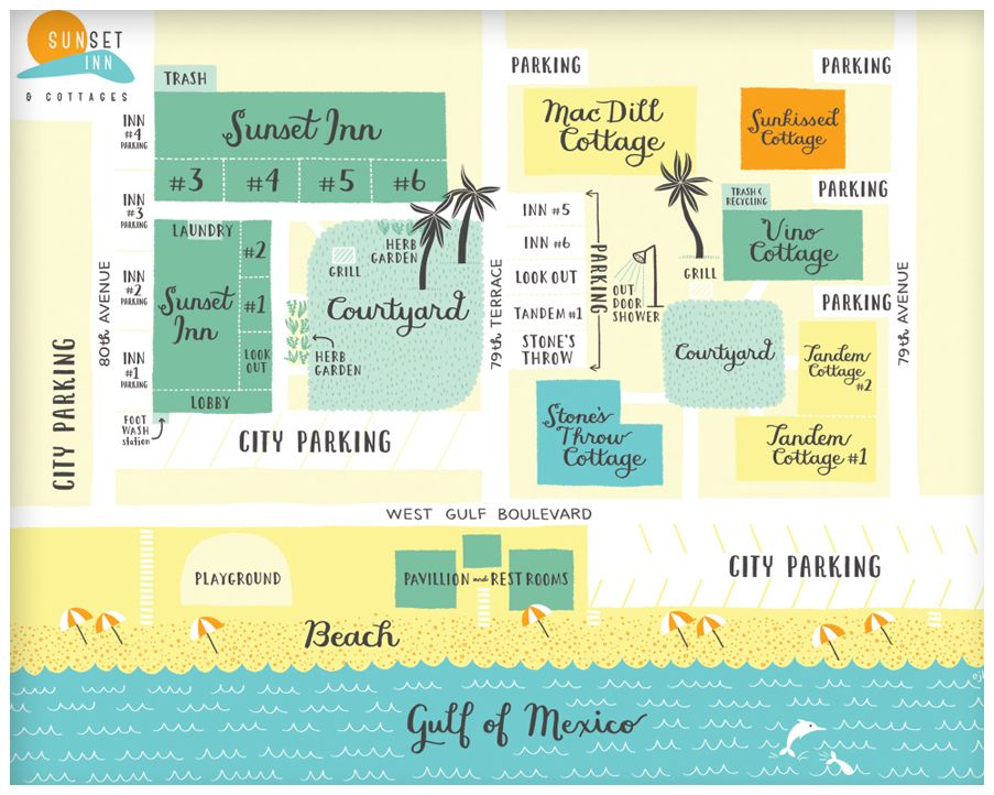 Property Map Made By Emily Balsley For Sunset Inn Cottages In Treasure Island Fl